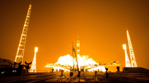 The Soyuz TMA-13M rocket is launched with Expedition 40 Soyuz Commander Maxim Suraev, of the Russian Federal Space Agency, Roscosmos, Flight Engineer Alexander Gerst, of the European Space Agency, ESA, and Flight Engineer Reid Wiseman of NASA, Thursday, May 29, 2014 at the Baikonur Cosmodrome in Kazakhstan. Suraev, Gerst, and Wiseman will spend the next five and a half months aboard the International Space Station. Photo Credit: (NASA/Joel Kowsky)
